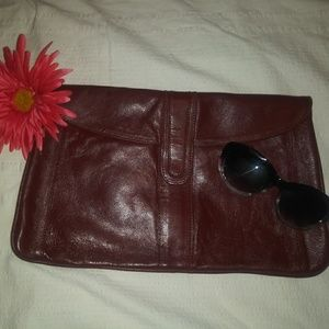 Vintage Snap Clutch Maroon Leather
